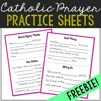FREEBIE Catholic Prayers Fill in the Blank Practice Sheets, Memory Work