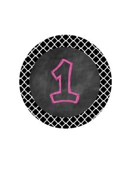 FREEBIE Chalkboard/Quatrefoil Center Numbers- Great Classroom Decor!
