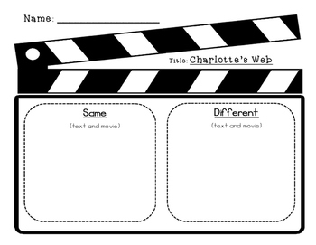 FREEBIE  - - Charlotte's Web - Comparing the Book & Movie Writing Activities