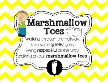 {FREEBIE} Chevron Themed Marshmallow Toes Hallway Expectation Poster