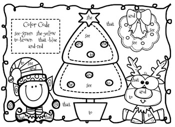 FREEBIE Christmas Coloring Sight Words
