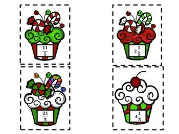 **FREEBIE** Cupcake Improper Fractions & Mixed Numbers Sort