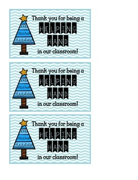FREEBIE Christmas Gift Tags for Classroom Volunteers
