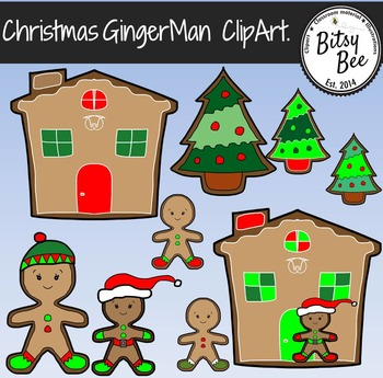 FREEBIE Christmas Ginger  Man Bread House Clip Art
