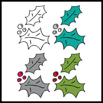 FREEBIE - Christmas Holly and Berries- 6 images