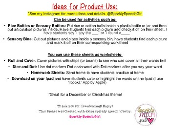 FREEBIE Christmas Mini Articulation Pictures & Worksheets G Sound