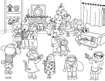FREEBIE Christmas Party Coloring Sheet