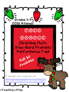 FREEBIE Christmas Themed Math Multi-Step Problem