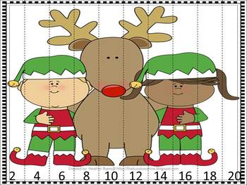 {FREEBIE} Christmas skip counting by 2 puzzle