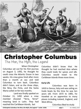 FREEBIE: Christopher Columbus Close Reading Biography