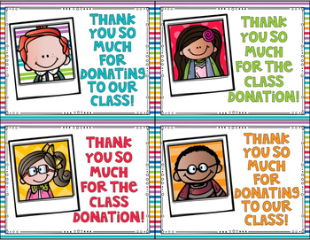 FREEBIE Classroom Donation Thank You Cards