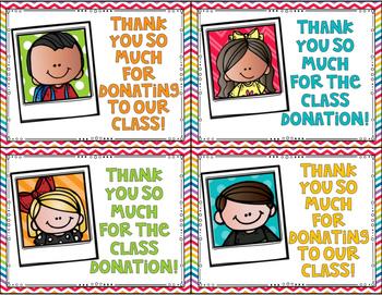 FREEBIE Classroom Donation Thank You Cards