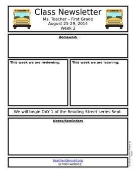 FREEBIE Editable Classroom Newsletter - Back to School 2