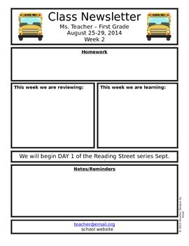FREEBIE Editable Classroom Newsletter - Back to School 2