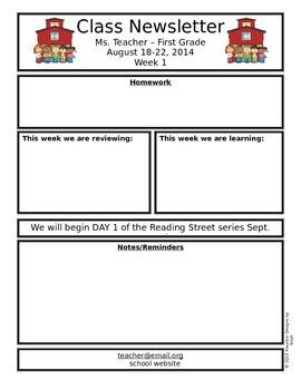 freebie editable classroom newsletter back to school