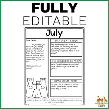 No Prep Editable Newsletters for Grades 3 4 and 5 in Black and White
