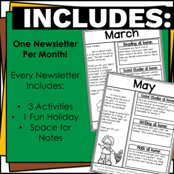 No Prep Editable Classroom Newsletters for Grades 1 and 2 Black and White
