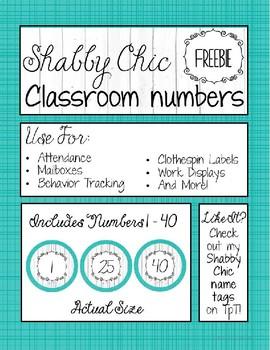 FREEBIE Classroom Numbers - Shabby Chic