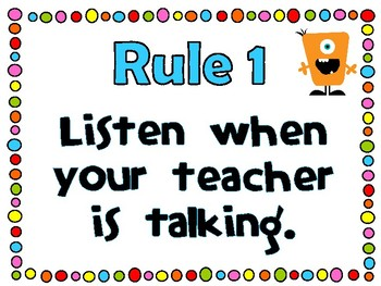 FREEBIE! Classroom Rules {Monster Theme} ~225 Followers FREEBIE