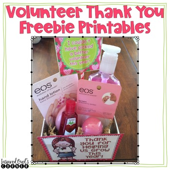 FREEBIE Classroom Volunteer Thank You Pack