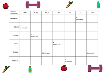 FREEBIE Clean eating & exercise weekly planner with 20% treats