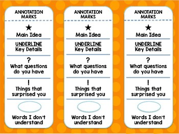Close Reading Annotation Bookmark **FREE** - Dots on Turquoise Theme