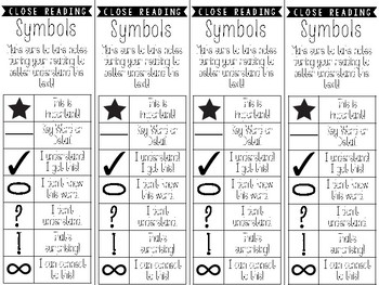 Freebie Close Reading Bookmarks