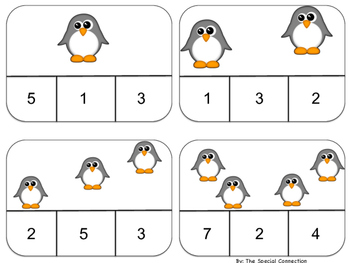 FREEBIE- Clothespin Counting: Winter Edition Level 1: Penguin Sample