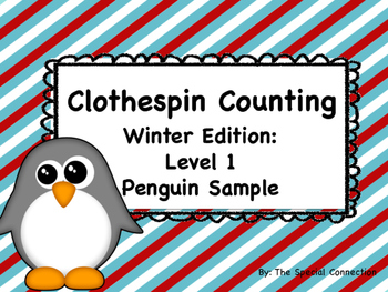 FREEBIE- Clothespin Counting: Winter Edition Level 1: Peng