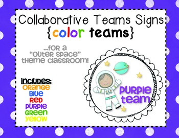 FREEBIE!! {Color) Team Signs for Collaborative Classroom Groupings