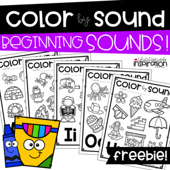 FREEBIE Color by Sound Beginning Sounds by Education and I