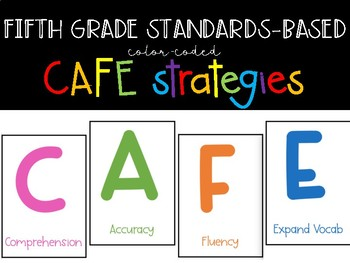 FREEBIE! Color-coded CAFE Board Strategies: 5th Grade Standards