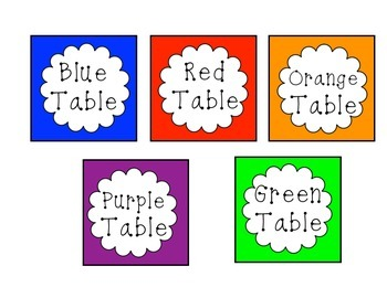 FREEBIE Colored Table Cards
