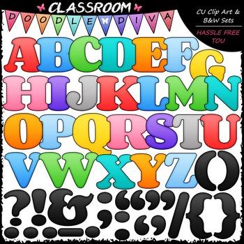 FREEBIE Colorful Alphabet & Punctuation Clip Art