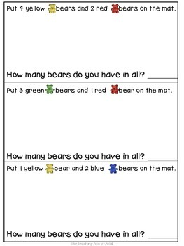 {FREEBIE!} Colorful Bears- Patterning, Counting, Adding Mats