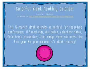 {FREEBIE} Colorful Blank Monthly Calendar