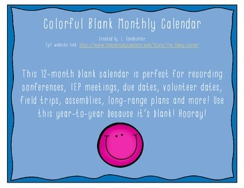{FREEBIE} Colorful Blank Monthly Calendar
