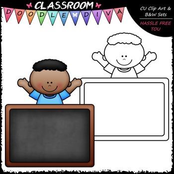 FREEBIE Colorful Chalkboard Kid Clip Art - Chalkboard