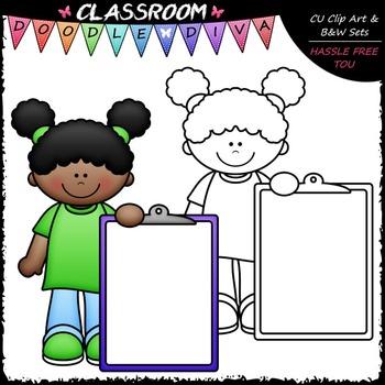 FREEBIE Colorful Clipboard Kid Clip Art - Clipboard