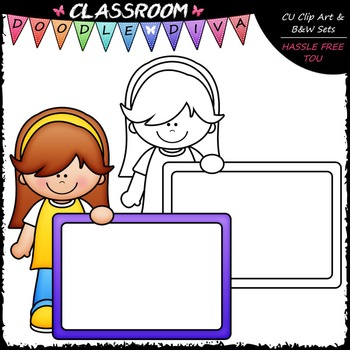 FREEBIE Colorful Whiteboard Kid Clip Art - Dry Erase Clip Art & B&W Set