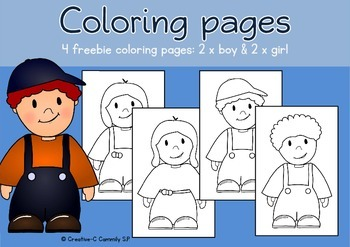 FREEBIE: Coloring Pages Boys And Girls   ALL ABOUT ME And MY BODY Theme