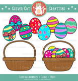 FREEBIE Colorful Easter eggs and basket clip art set