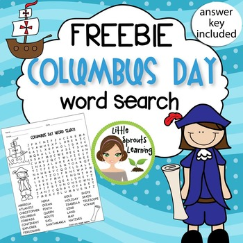 FREEBIE - Columbus Day Word Search (includes answer key)