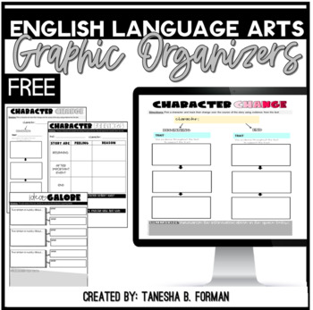FREEBIE: Common Core Graphic Organizers Reading Literature