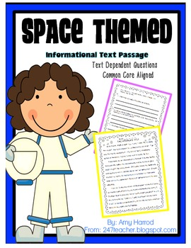 FREEBIE: Common Core Space Passage for Close Reading, Text Evidence, Assessment