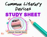 FREEBIE! Common Literary Devices Study Review Sheet - High School ELA/ENGLISH