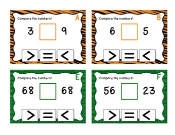 FREEBIE - Comparing Numbers 1 digit 2 digit and 3 digit - Task Cards