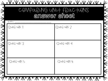 FREEBIE: Comparing Unit Fractions Task Cards