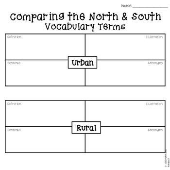 FREEBIE! Comparing the North and South - Civil War Vocabulary Terms