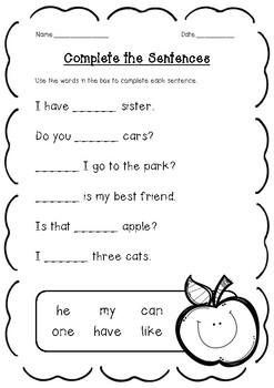 FREEBIE - Complete the Sentence